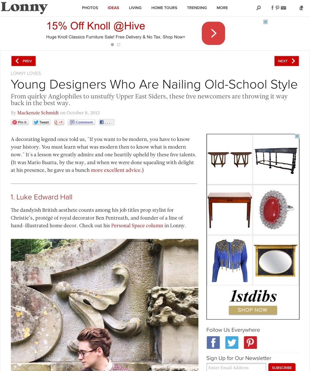 Lonny Magazine- Young Designers Who Are Nailing Old School Style