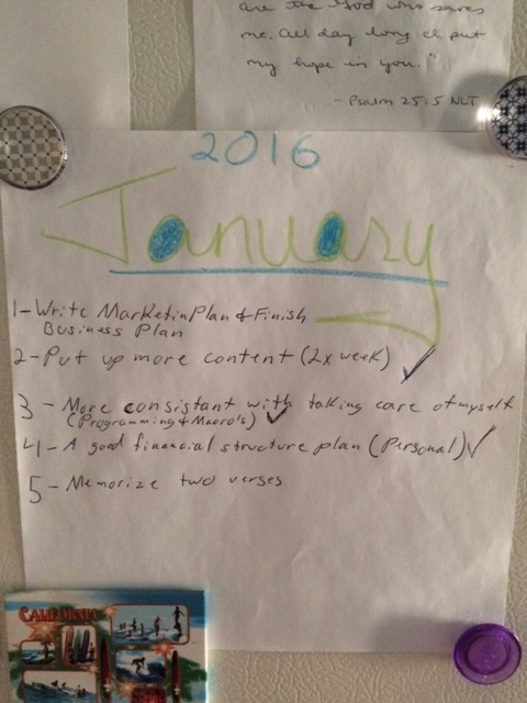 Small Goals for January.