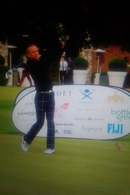 David sporting his tailored golf trousers at the 2014 One For the Boys golfevent.