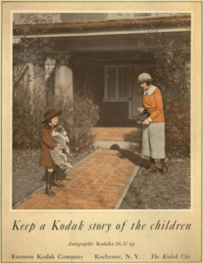 1920's Kodak advertisement of mother taking a picture of a child