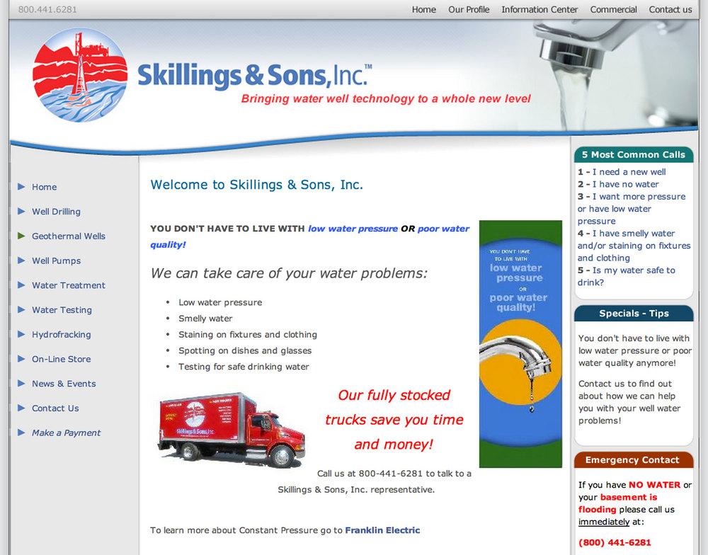 SKILLINGS AND SONS WEBSITE   Before DESIGN CLICK TO ENLARGE