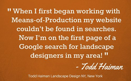 Landscape Designer marketing and website design Testimonial