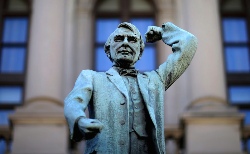 Statue of Watson before the Georgia State Capitol. In 2013, they moved it across the street.