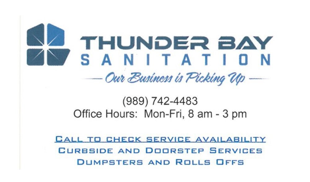 Thunder Bay Sanitation - 230 E Progress StreetHillman, MI 49746(989) 742-4483