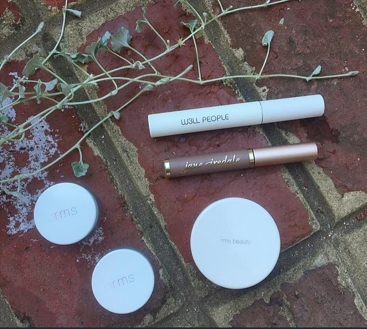 As seen above from left to right: RMS Un-Cover up 11 & 22; W3ll People Mascara, Jane Iredale Blonde Brow Gel; RMS tinted Un-Powder