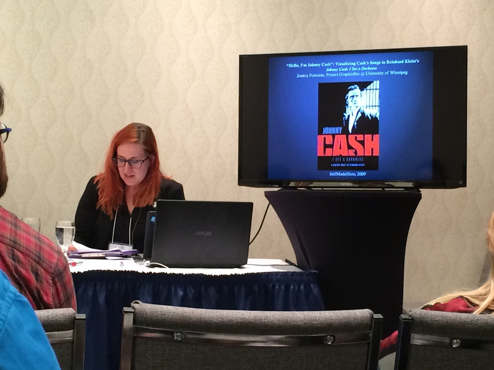 Jess Fontaine delivers her paper at the 2016 conference of the Canadian Society for the Study of Comics/Société canadienne pour l'étude de la bande dessinée (CSSCSCEBD)