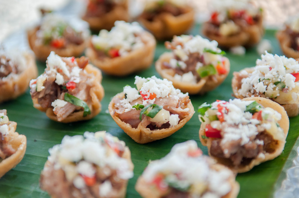 refried bean tostada bites