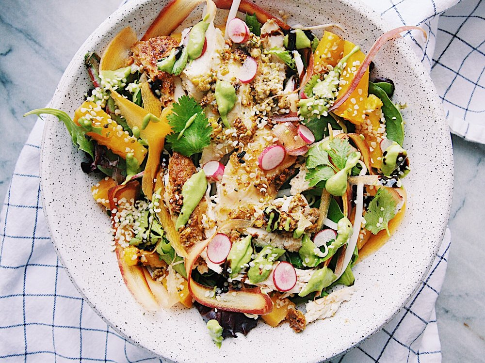 Pistachio Crusted Chicken Fall Vegetable Salad