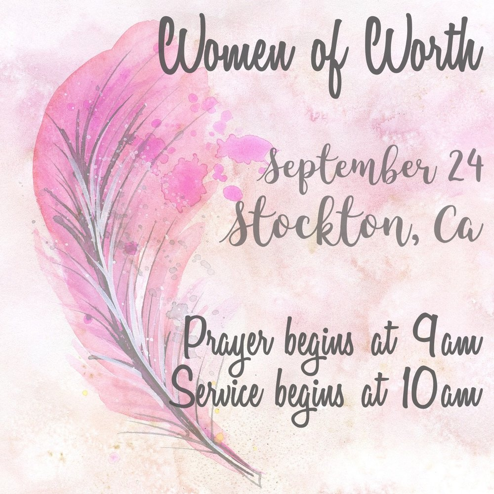Calling all ladies! Come and join the fun and encouraging fellowship and a great word at the women of worth meeting in Stockton, CA.
