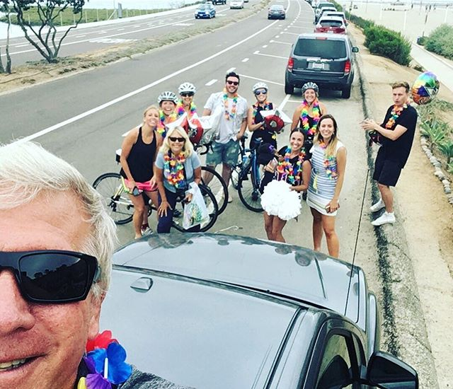 """Mama Laube says """"You never regret showing up for the people you love."""" She's so right, I'd say it's one of the greatest joys of my life. @tourdefemme_  ended with balloons, leis, and a dip in the ocean.  So very proud of these badass lady biker friends, and grateful for the MANY people who helped make it happen. Here's looking at you @janellelaube, now I need to put down my sunglasses.  #imnotcryingyourecrying"""