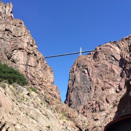 View of the royal gorge bridge from the train along the arkansas river
