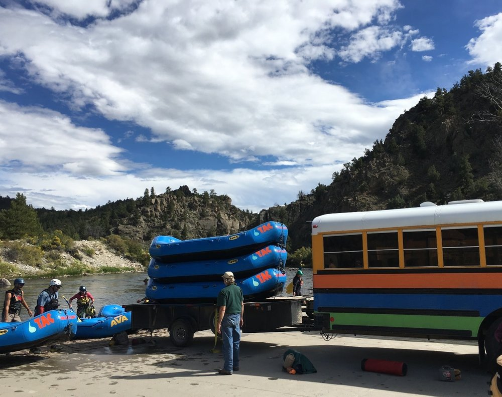 Guides load rafts at Hecla Junction after rafting the arkansas River