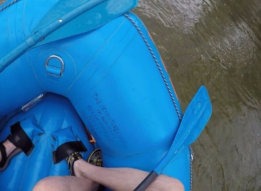 Our most important lesson - How to Tuck in - place your outside foot into the foot cup, then your inside foot goes behind it and tucks into the fold of the raft.