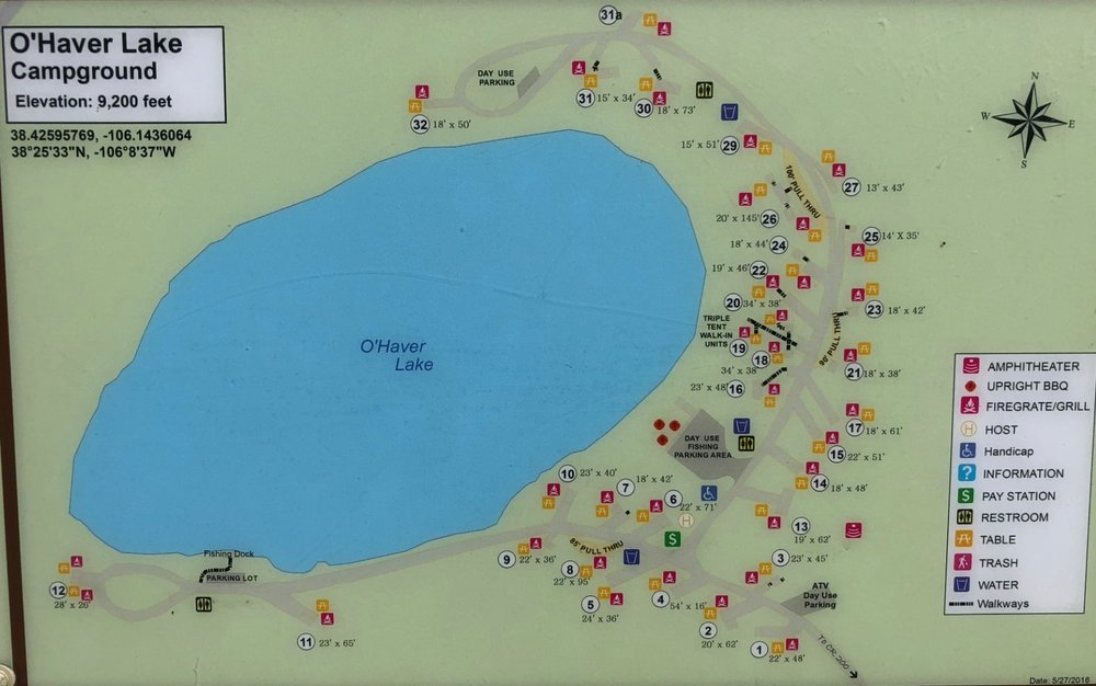 O'Haver Lake Campground Map - Site 28 (Not Listed) is part of site 26.
