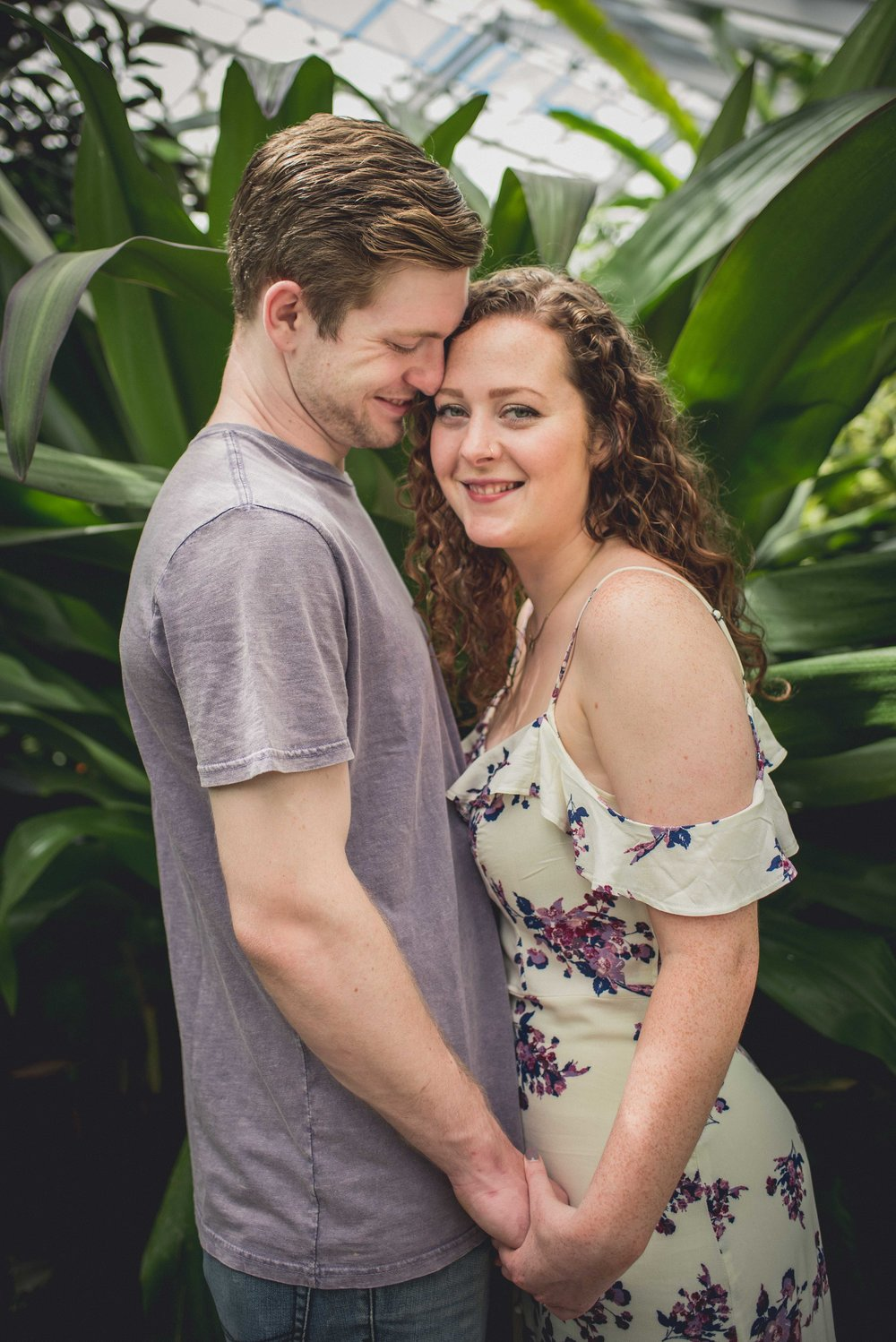 Rawling Conservatory & botanical gardens in Baltimore Bride and groom engagement session
