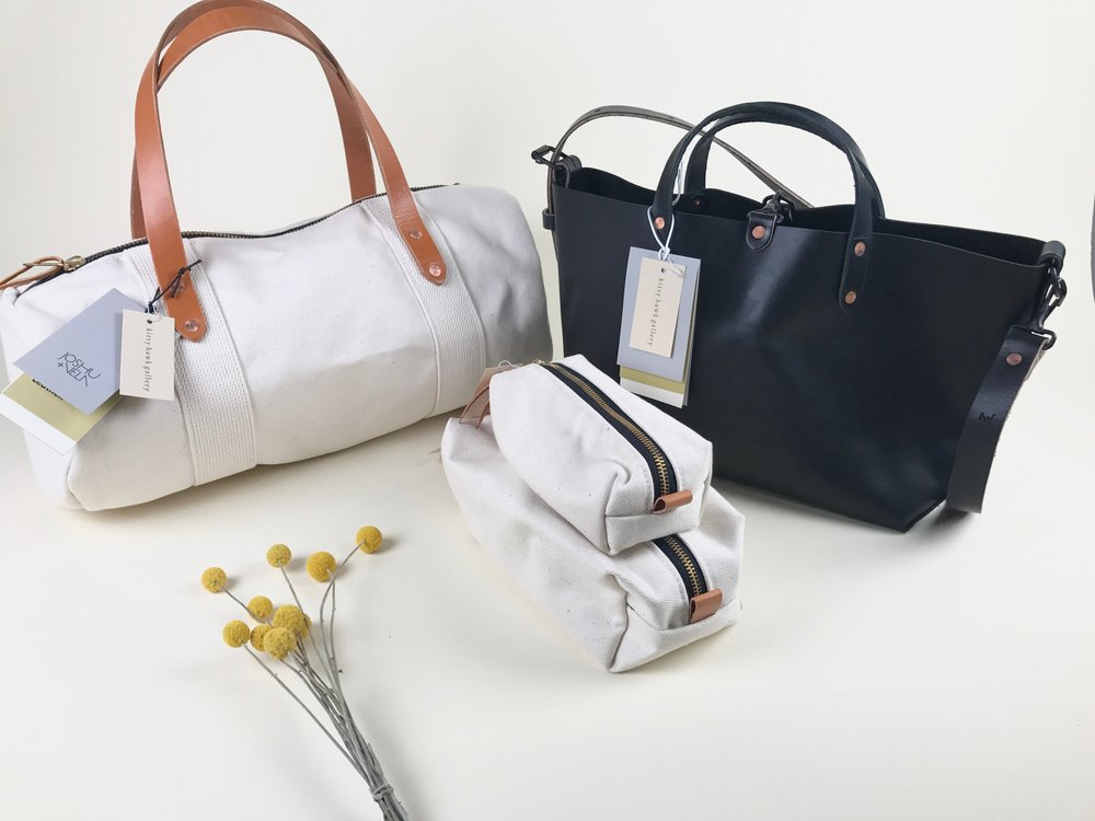 canvas duffle + leather tote + dopp kits