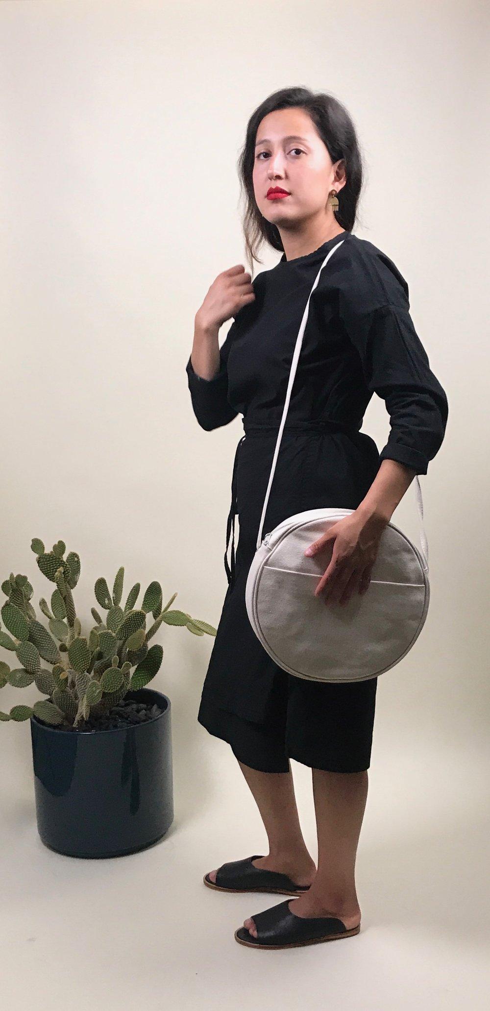 wrap dress + circle purse