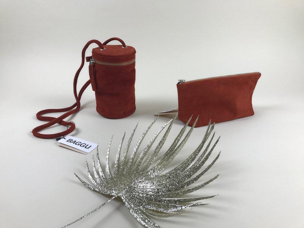 baggu suede saddle purse + pouch