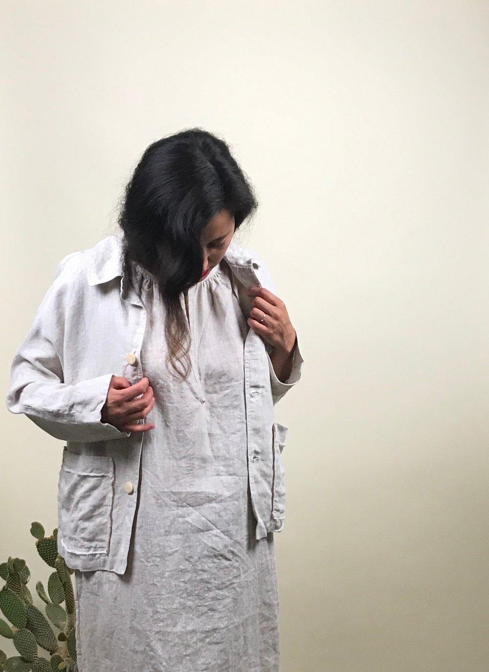 linen jacket + linen dress
