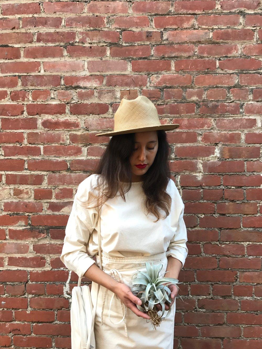 vintage hat + wrap dress + circle purse