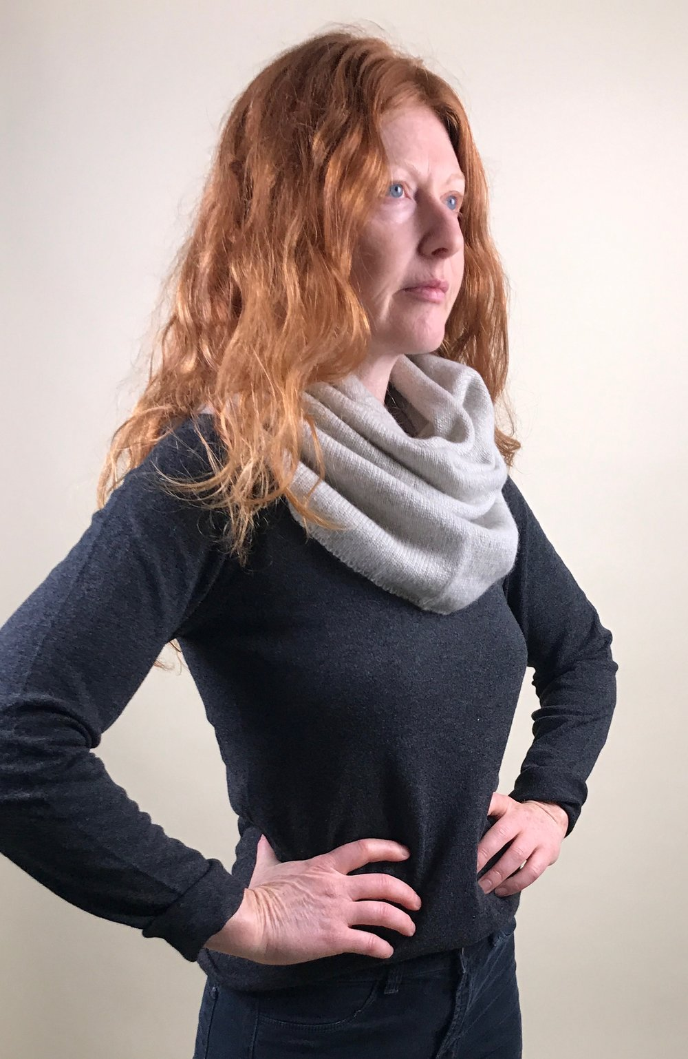 cashmere sweater + circle scarf