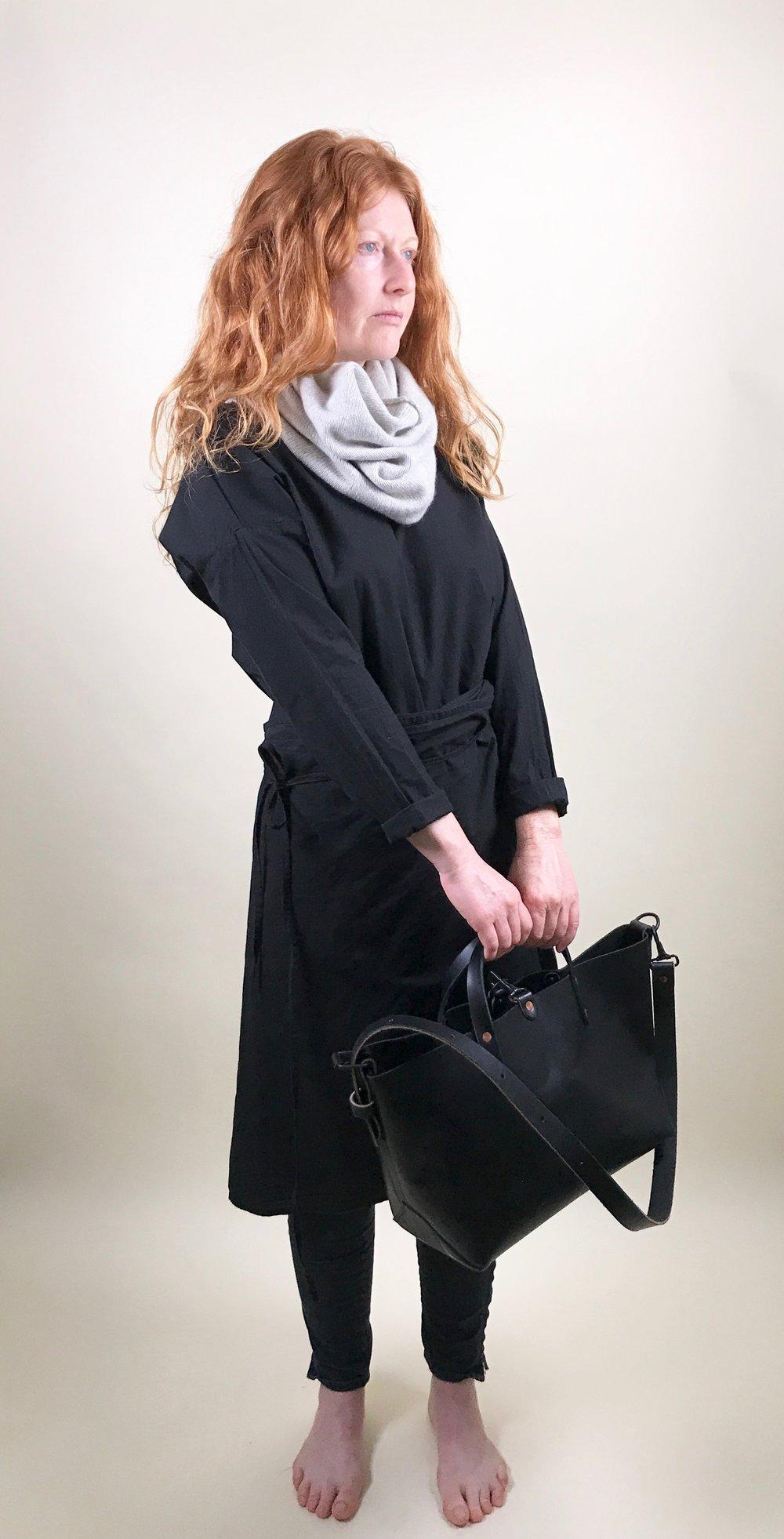 circle scarf + wrap dress