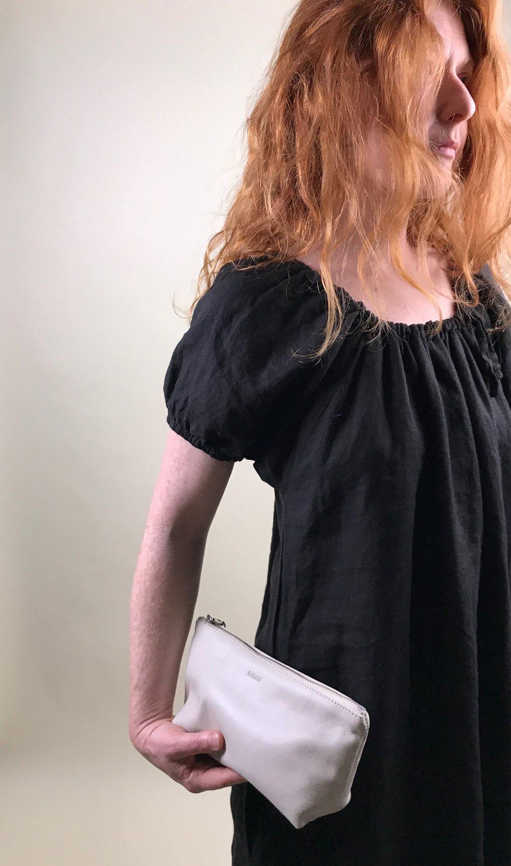 trumpet dress + baggu pouch