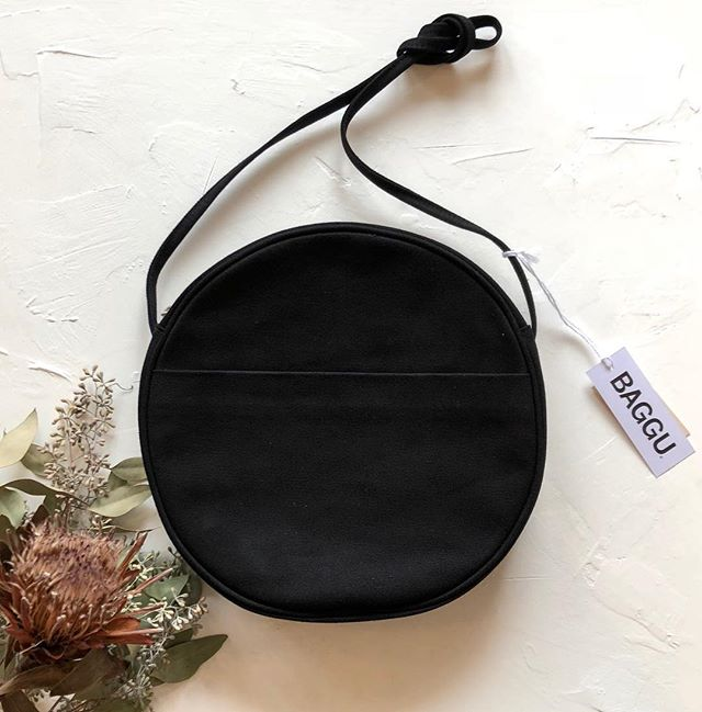 Black canvas @baggu circle purse OH MY. Have a small black leather one too 🎈