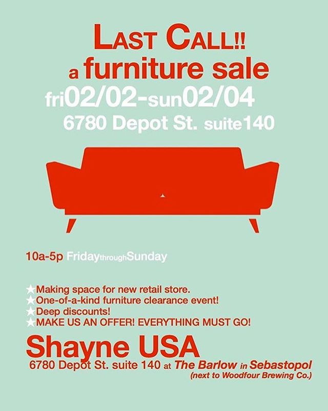 Today ! The shop is participating in this sale over at the Barlow. Come on by.