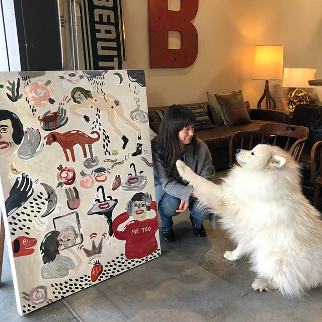 Danielle from @littlefourstore stopped by our sale at the Barlow and snagged this awesome painting for $50 and then Scout wouldn't let her leave because he wanted more hugs. Here today again until 5 wahoo