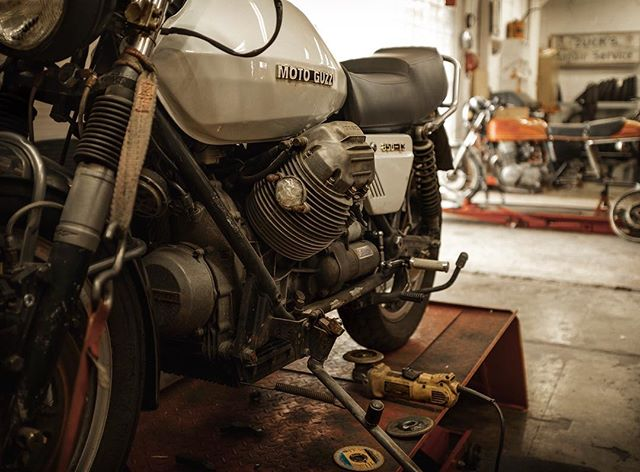 A glimpse of two ongoing customer builds — Moto Guzzi 850T-3 and a Honda CB750. . If you need a custom builder for your vintage machine, we're your shop! . Contact info in bio. . Tomorrow is Bike Night! Join us at 1500 Elizabeth Ave, West Palm Beach from 6:00pm onwards! Our great neighbors @steamhorsebrewing have rider Happy Hour and Live Music!