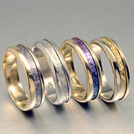 Gold with Tantalum Style Inlay Rings