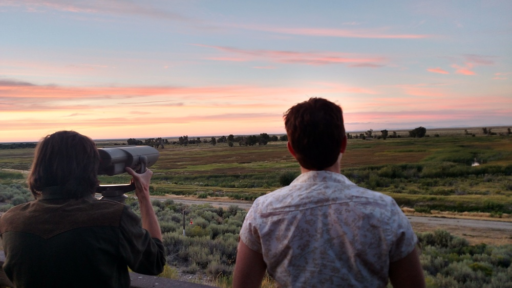 Harrison, VP of Sustain, and Nicole, Secretary, enjoy dusk at Seedskadee NWR last summer.