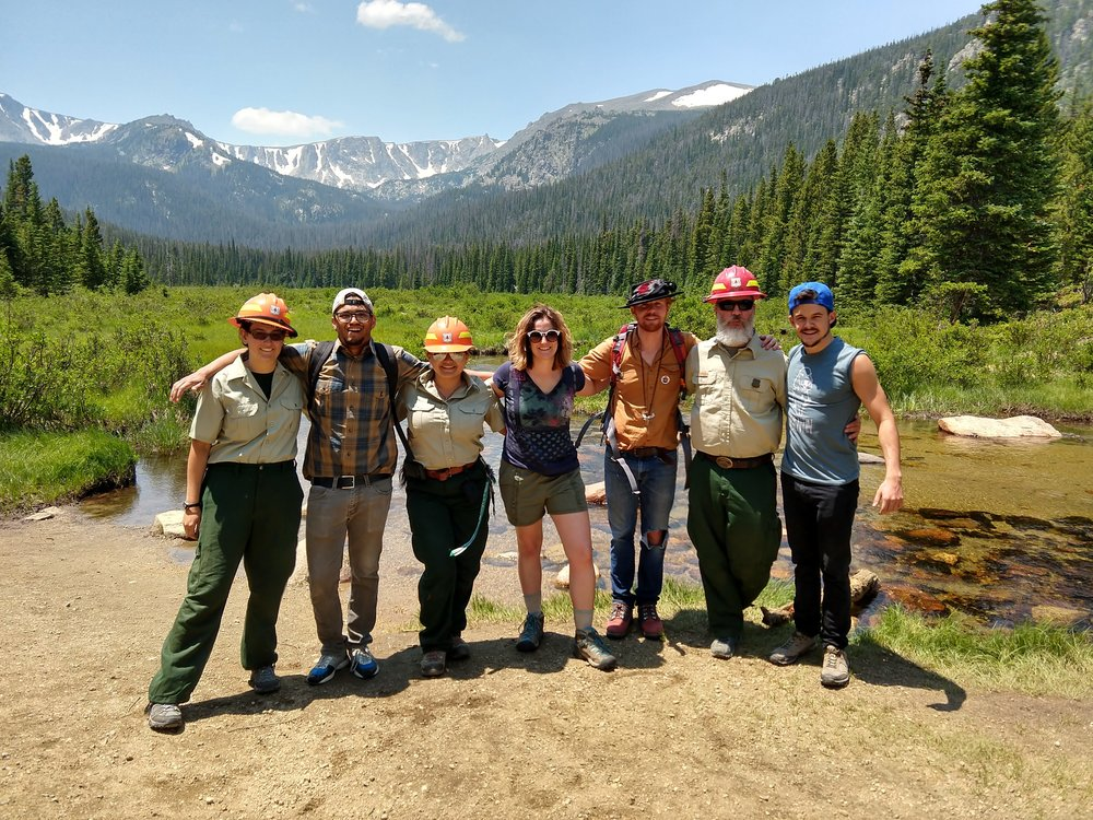 Ari, Hayden (Burroughs), Marley, Bri (Burroughs), Johnny (Burroughs), Tom, and Alec (Burroughs) at Cirque Meadows in Roosevelt National Forest.