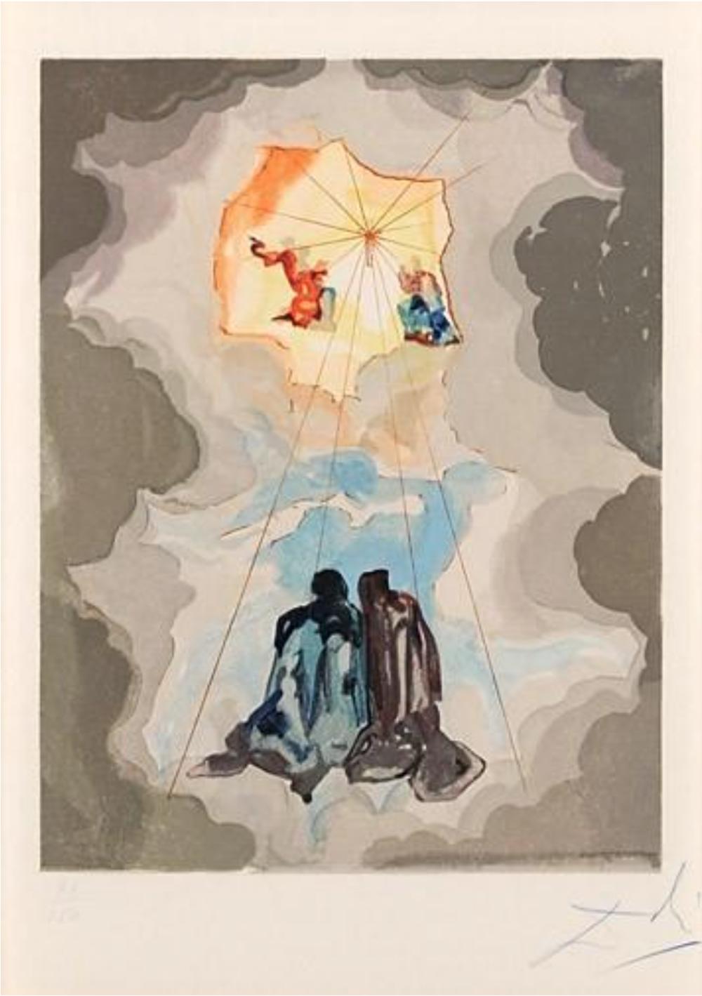 La Divine Comédie: Paradise Canto 15- Extase de Dante (prestel 1120), 1960 Color wood Engraving 9.5 x 7.25
