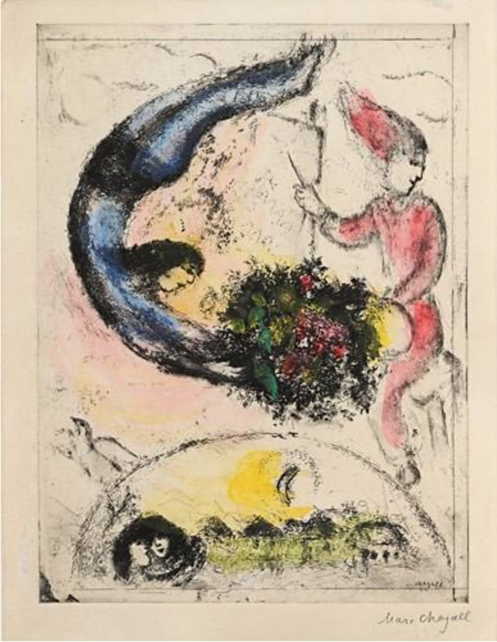 Das Geschenk - 3rd (final) State (k. 96), 1944-45 Etching with Hand-Coloring 10.25 x 7.25
