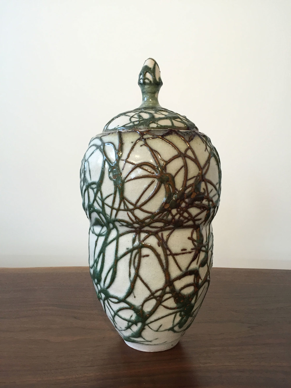 Jacob Burmood Lidded Vessel Ceramic 12.5 x 6 x 6 $ 400 • SOLD