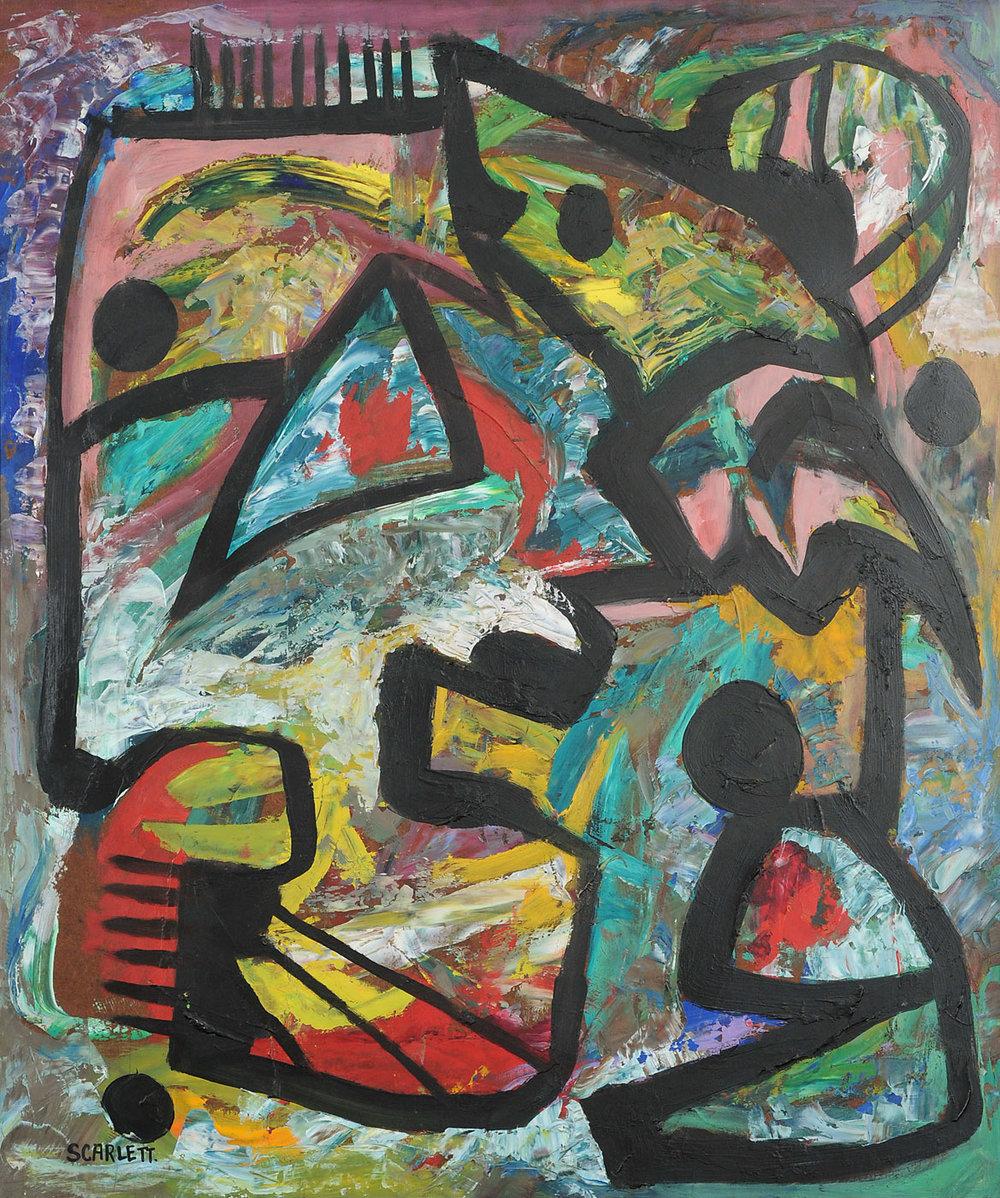 Rolph Scarlett Untitled (five black dots) Oil on panel c.1950