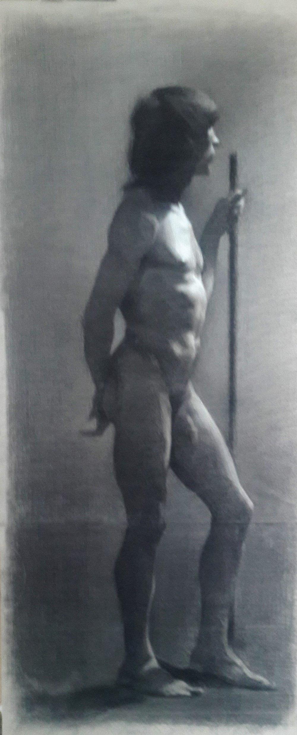 "Figure Study 2,Charcoal on paper,16 x 30"",$500"