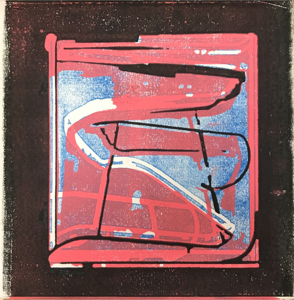 WHENEVERwhen  (Red on Blue) ,  Mixed media on panel, 12 x 12, $250