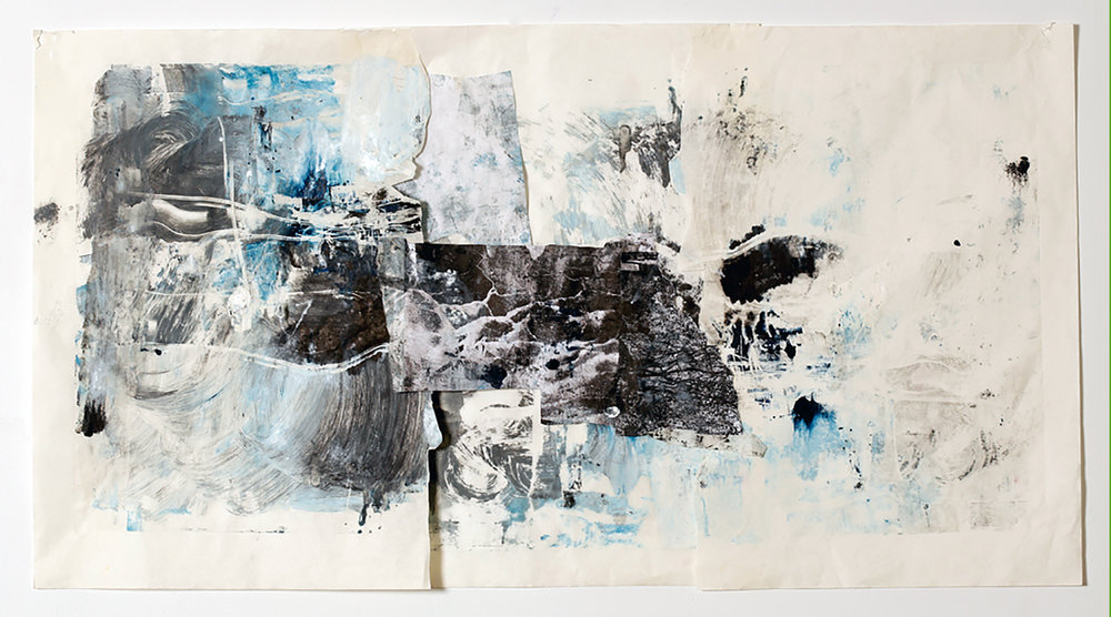 Earth,  Monoprint collage on rice paper and fabric, 40 x 26, $600