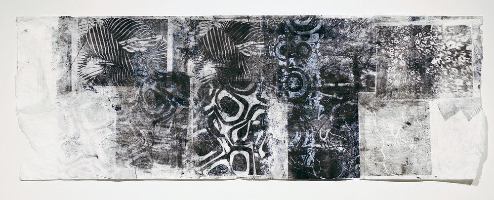 October G , Monoprint on rice paper and fabric, 17 x 42, $400