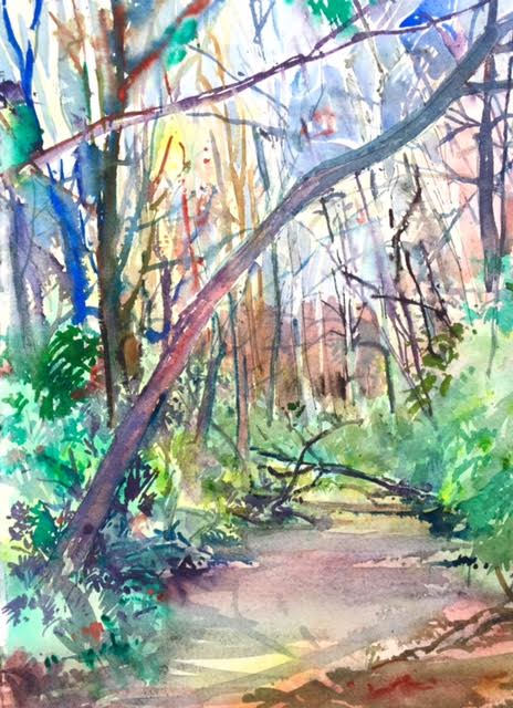 Mark Grundy, Late Fall Creek - Columbia, MO, Watercolor on Paper,11 x 14,$300
