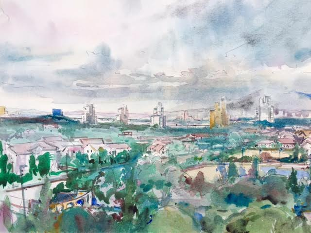Mark Grundy, Suncheon City from Hotel Balcony, South Korea , Watercolor on Paper,11 x 14,$300