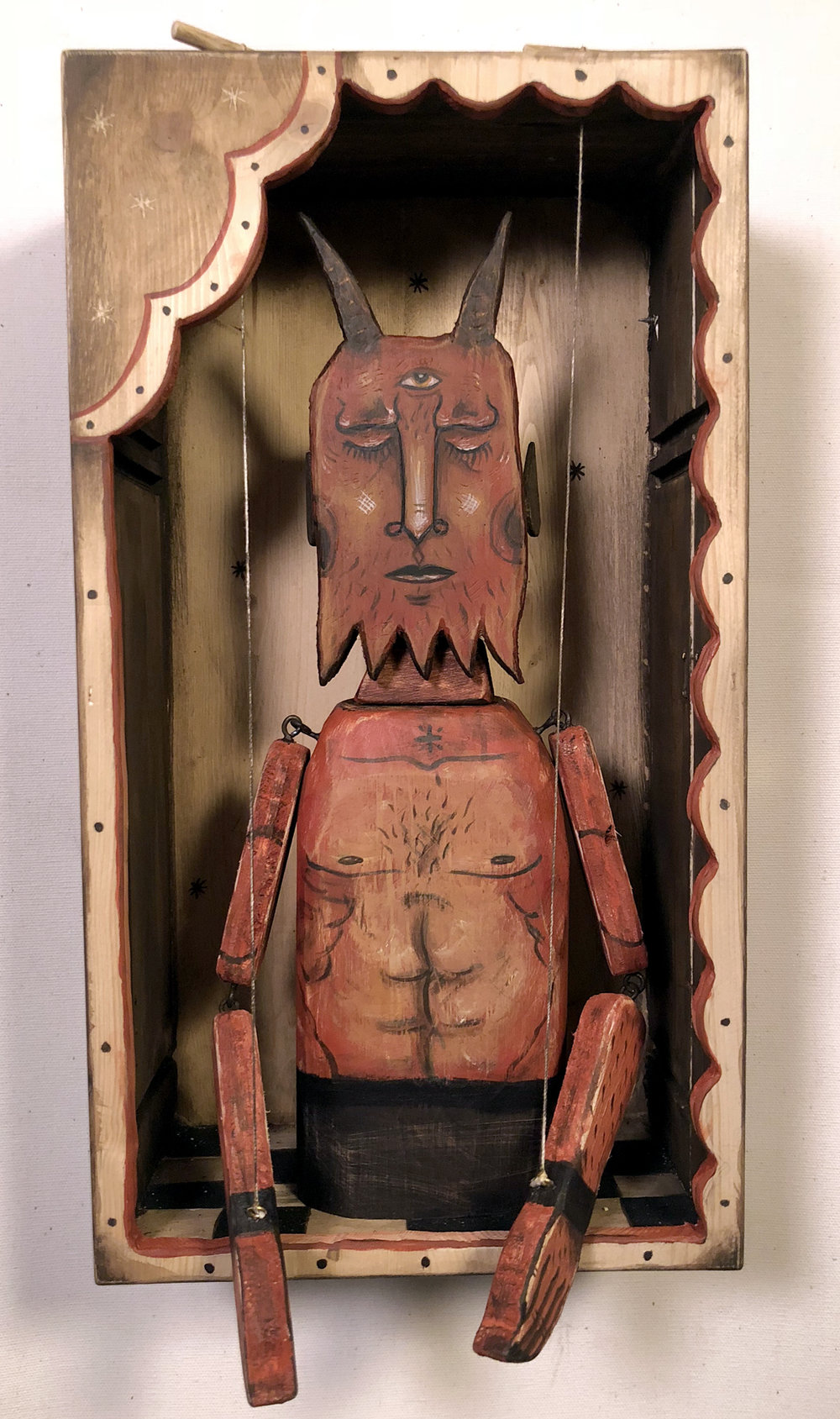 Demon in Contemplation,  Acrylic on wood, 13 x 7, $800