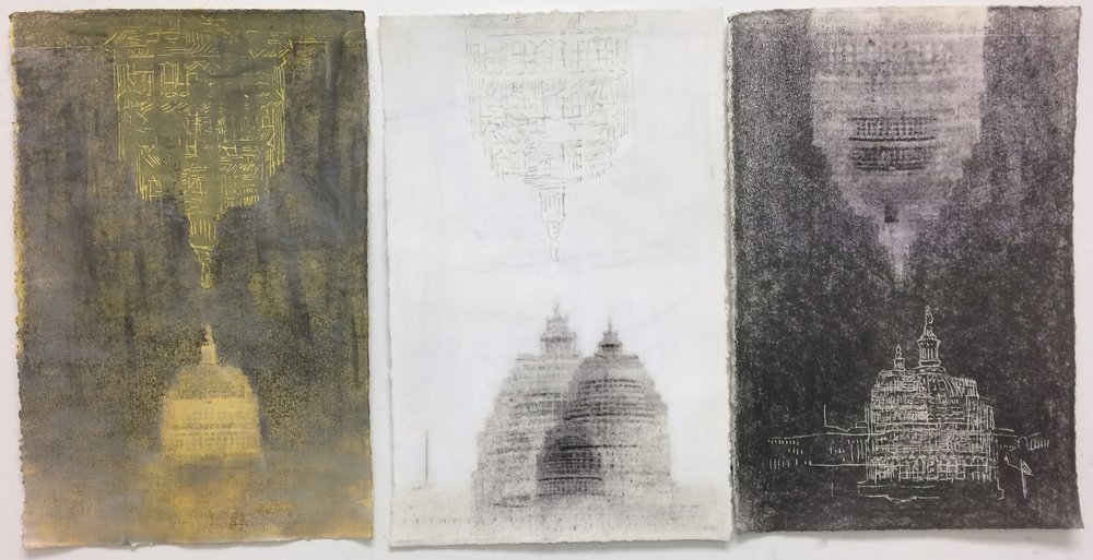 Felicia Leach,  Dome- Gold, White, and Grey,  Mixed media on paper. 18 x 40""