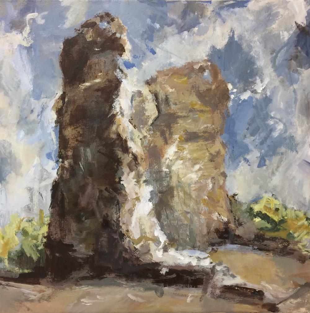 """Felicia Leach,  Temple of Mars , Acrylic on canvas, 36 x 36"""""""