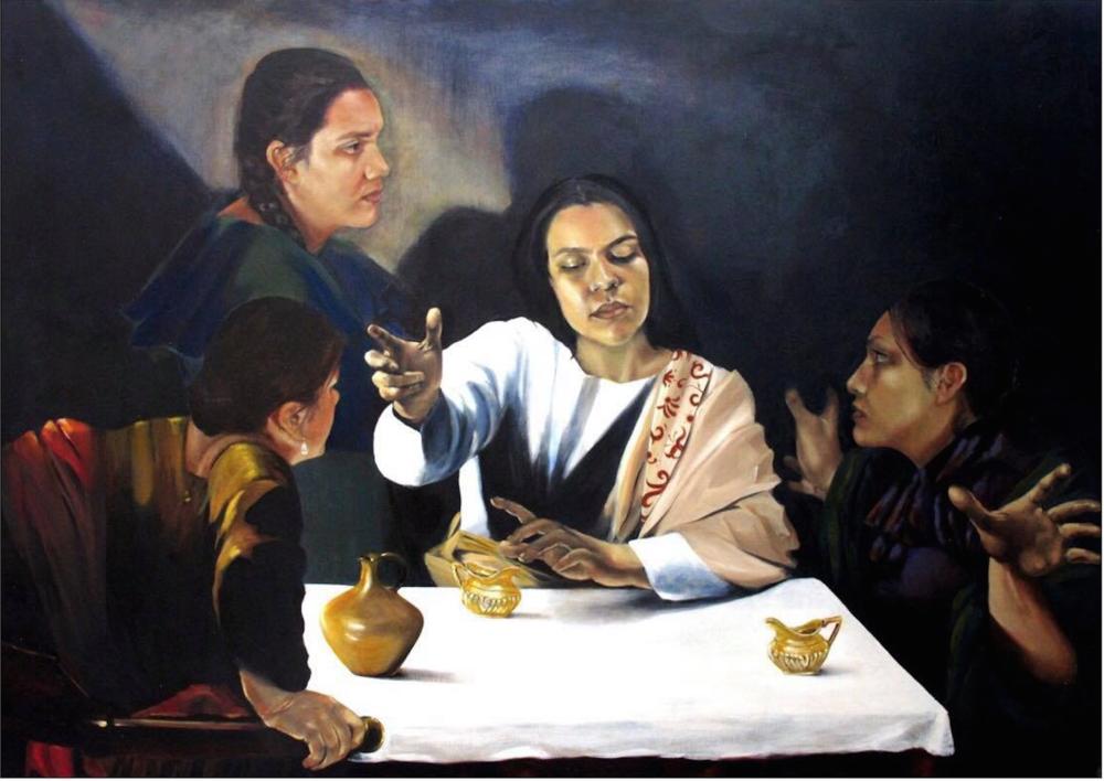 "Carina Jimenez, "" Dialogo de la Sombra-Dialogue of the Shadow"" , Oil painting on canvas, 41.25 x 46.50, $8,000"