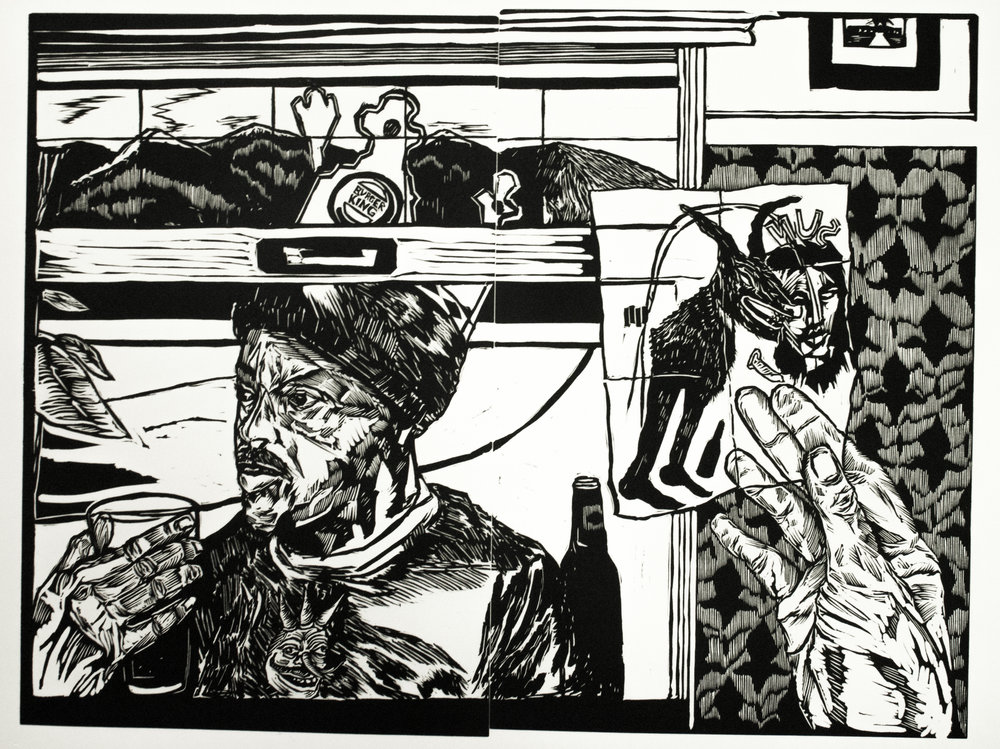 Emmett Merrill,  What'd I Do? , Relief print, 22 x 30, $250