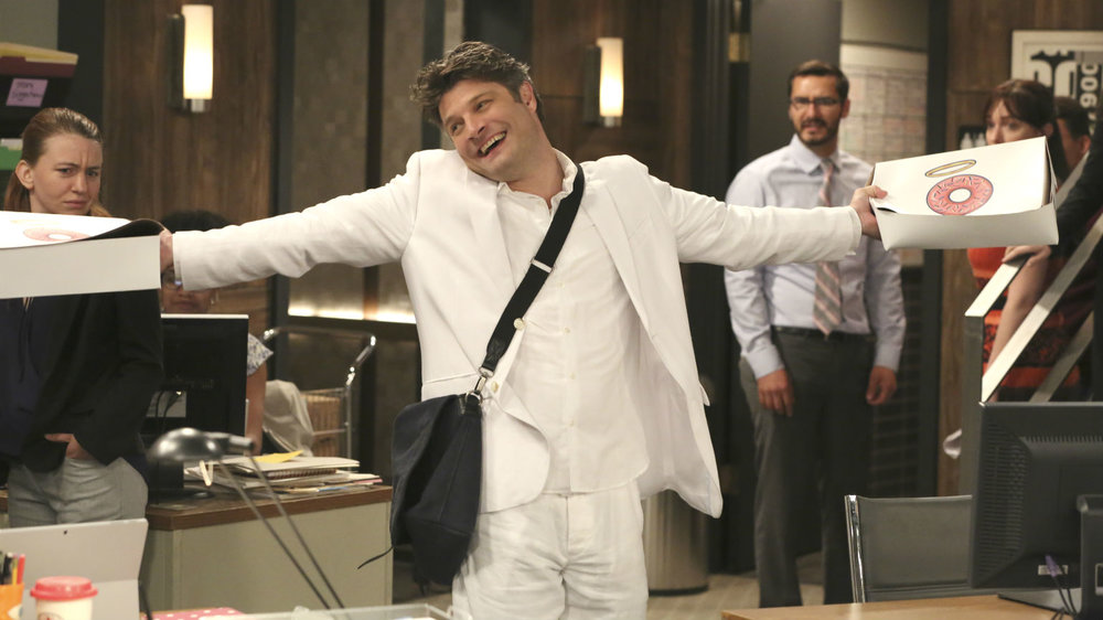 Jay R. Ferguson plays Chip Curry, a soon-to-be father and film critic trying to get his life together in CBS's  Living Biblically.  © CBS Studios.
